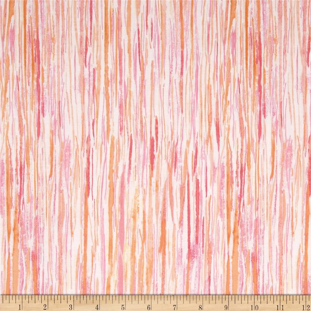 Watercolor Garden Wildwood Stripe Rose/Apricot