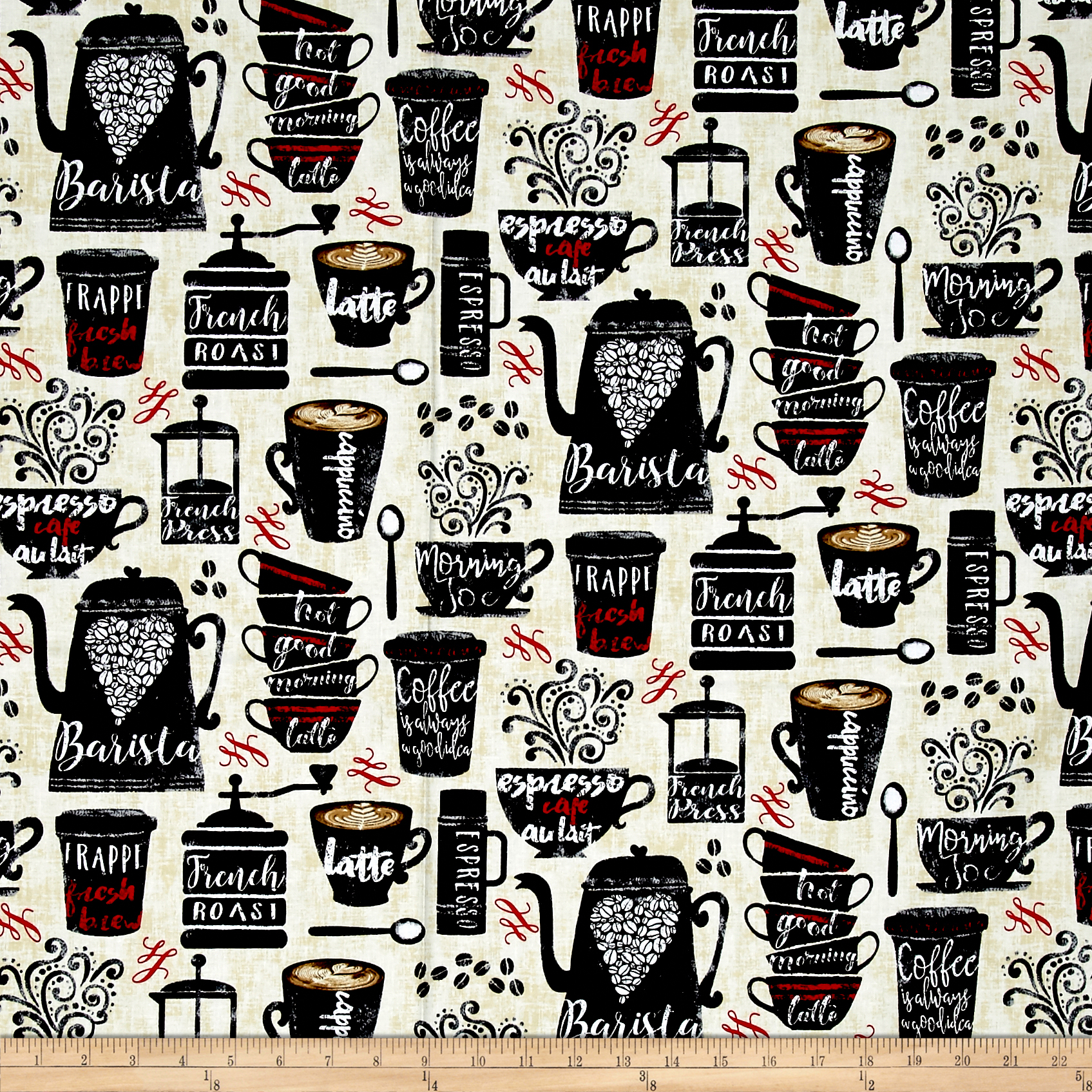 Timeless Treasures Coffee Cups Cream Fabric 0469298