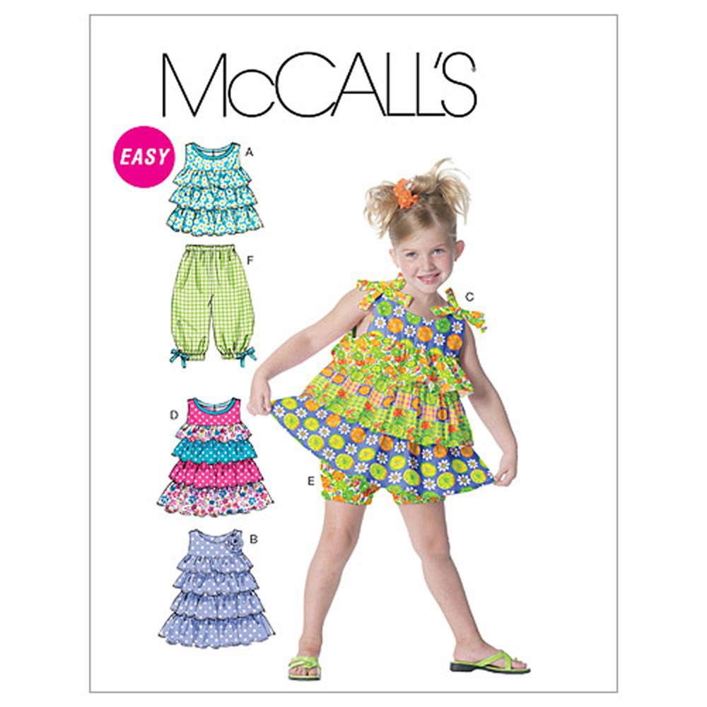 McCall's Toddlers'/Children's Tops, Dresses, Shorts and Capri Pants Pattern M6270 Size CB0