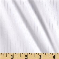 Stretch Cotton Poplin Silver Stripe White