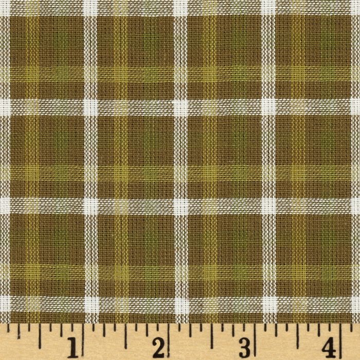 Yarn-Dyed Plaid Shirting Sage Green Fabric