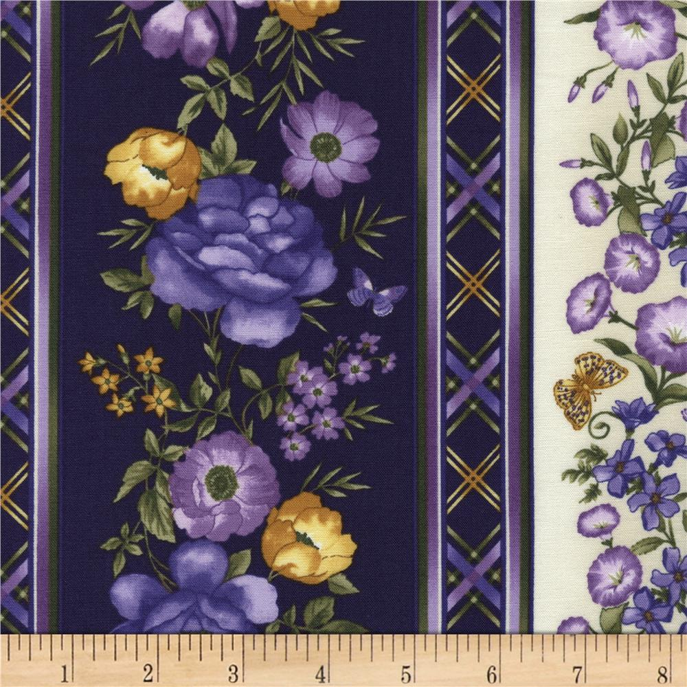 Timeless Treasures Violet 11 In. Stripe Border Purple