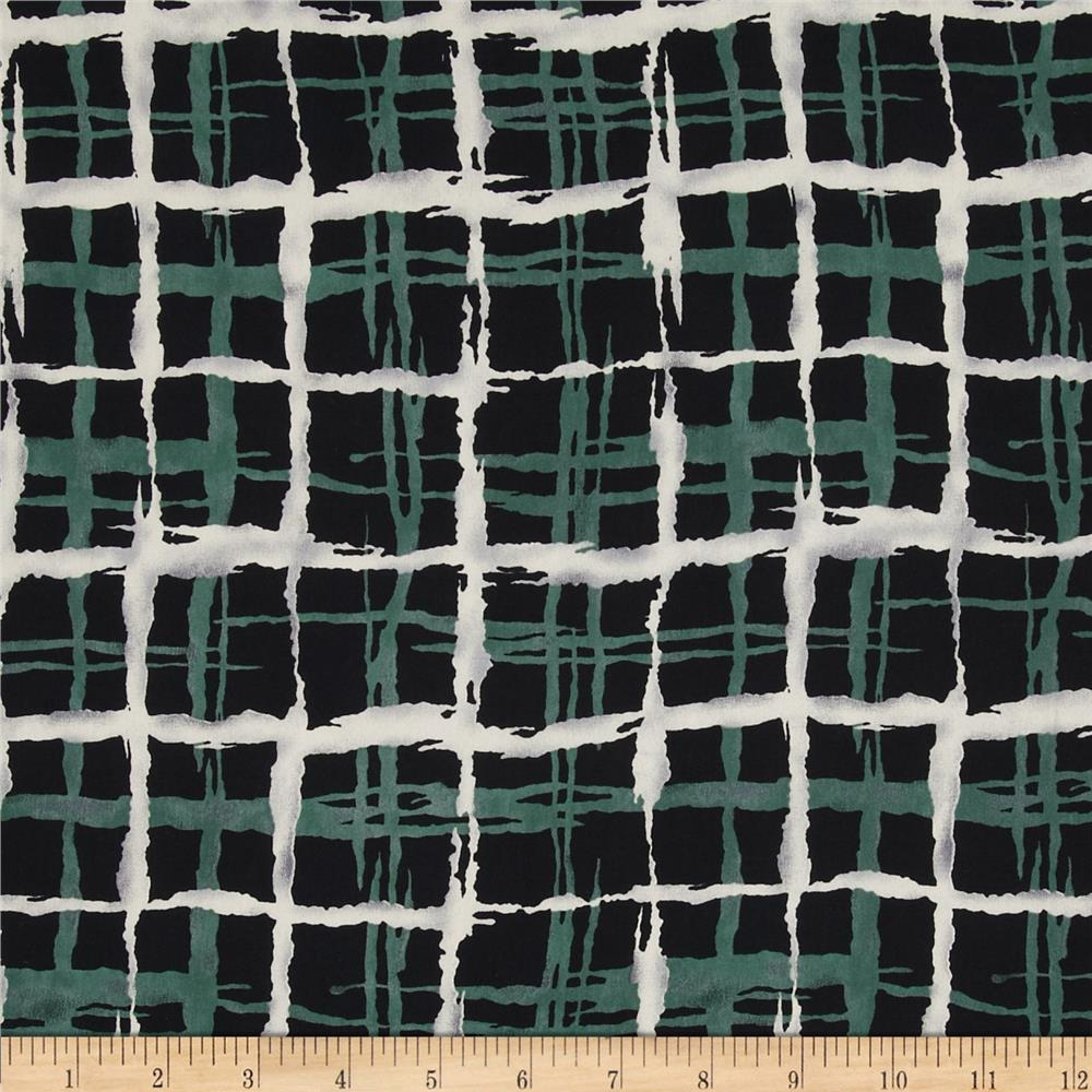 Satin Face Crepe de Chine Plaid Green/Black