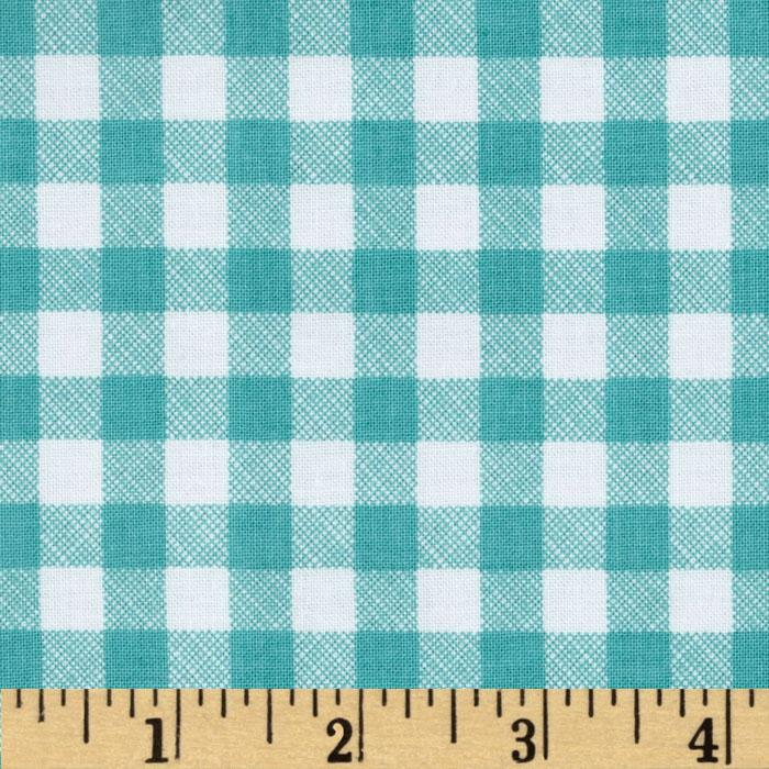 Riley Blake Polka Dot Stitches Gingham Blue