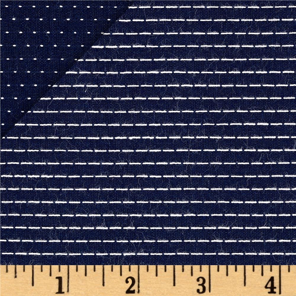Kaufman Chambray Stitched Yarn Dyed Straight Navy Fabric