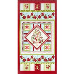 O' Christmas Tree Panel Red Fabric