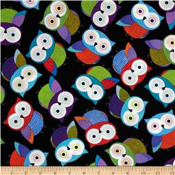 Timeless Treasures Foxy Owl Owls Black