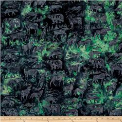 Island Batik Woodland Animals Dark Green