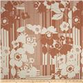 Designer Cotton Lawn Floral Stripe Rosy Brown