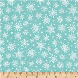 Riley Blake Merry Matryoska Flannel Snowflakes Blue