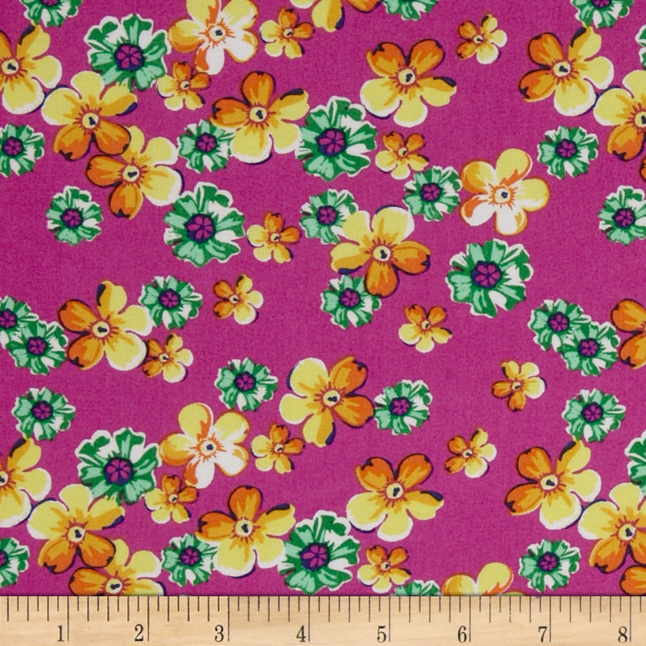 Designer Rayon Challis Flower Blooms Hot Pink/Yellow