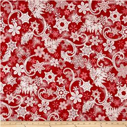 Kaufman Holiday Flourish Metallics Snowflakes Red