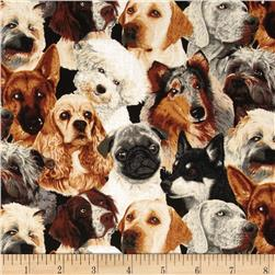 Novelty Print Beautiful Dogs Black/Brown/Beige