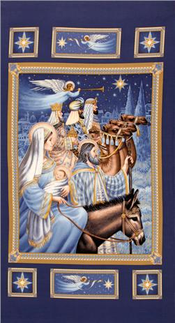 Timeless Treasures Nativity Three Kings Panel Blue/Gold