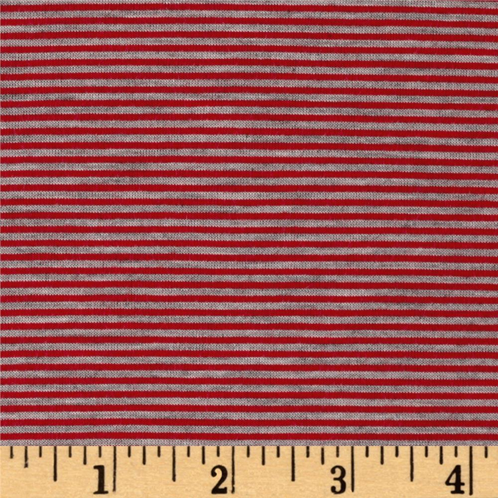 Pin Stripe Jersey Knit Heather Gray/Red Fabric