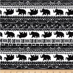 Cotton Lycra Jersey Knit Bohemeian Elephant Black/White