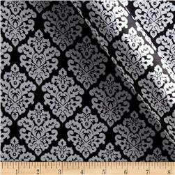 Charmeuse Satin Classic Damask Black/Snow Fabric