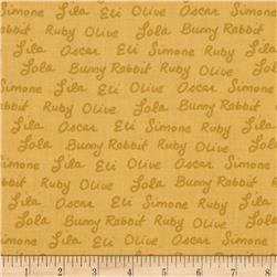 Ric Rac Rabbit Words Gold Fabric