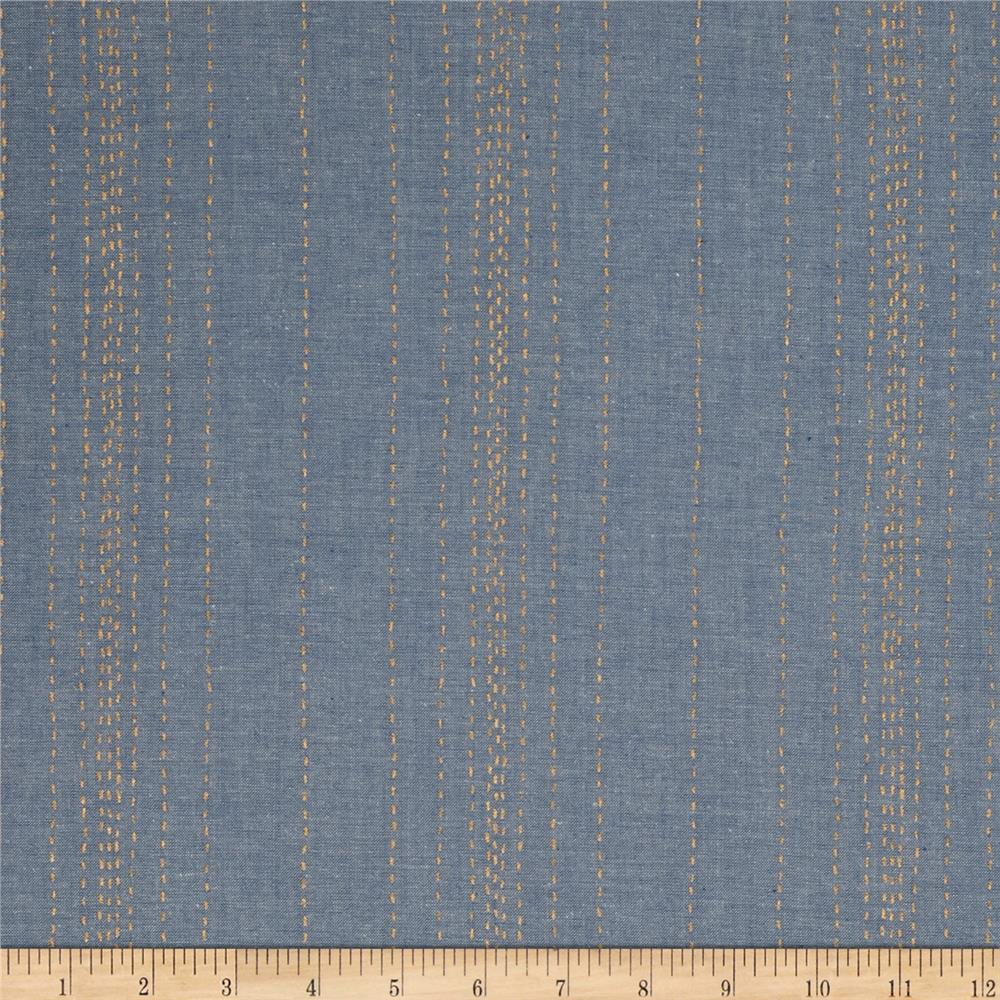 Andover printed chambray stitch lines blue gold discount for Chambray fabric