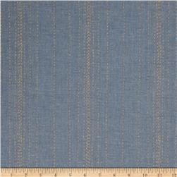 Andover Printed Chambray  Stitch Lines Blue/Gold