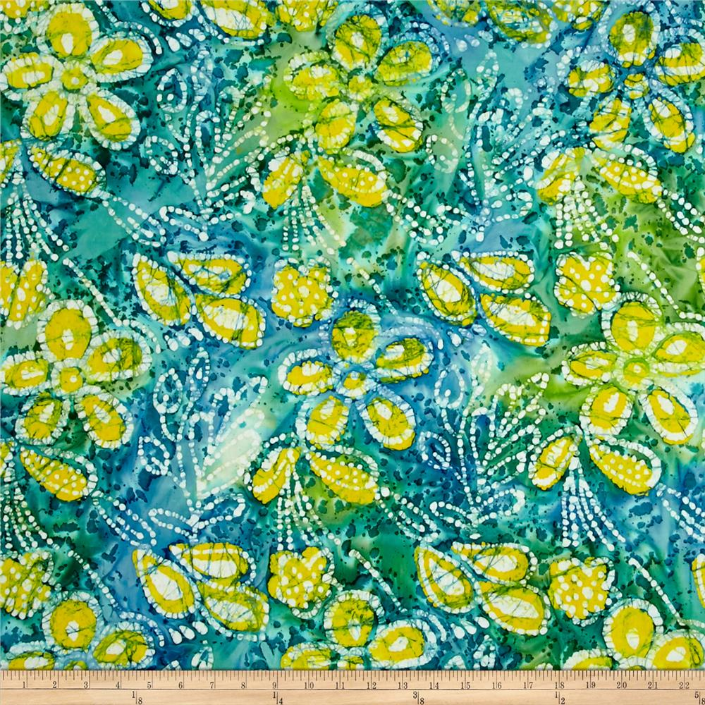 Indian Batik Caledonia Garden Large Floral Turquoise/Yellow