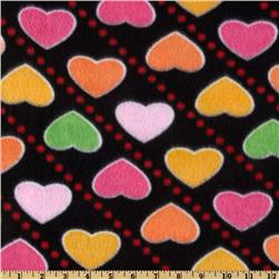 Novelty Fleece Heart Throb Black
