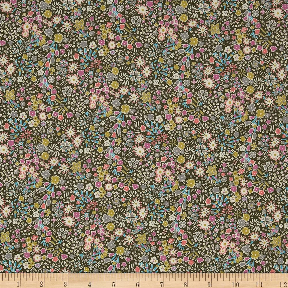 Liberty of London Classic Tana Lawn Wild Flowers Kayoko Olive/Purple