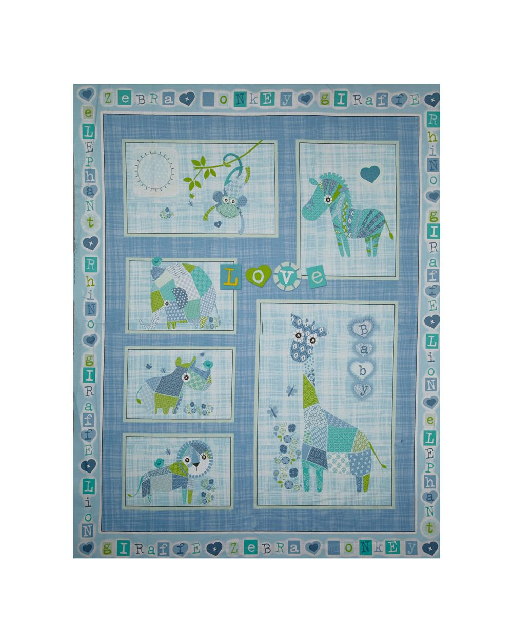 "Patchwork Pals 35"" Panel Blue"