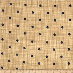 Tempo Faux Linen Embroidered Dot Cobalt Blue
