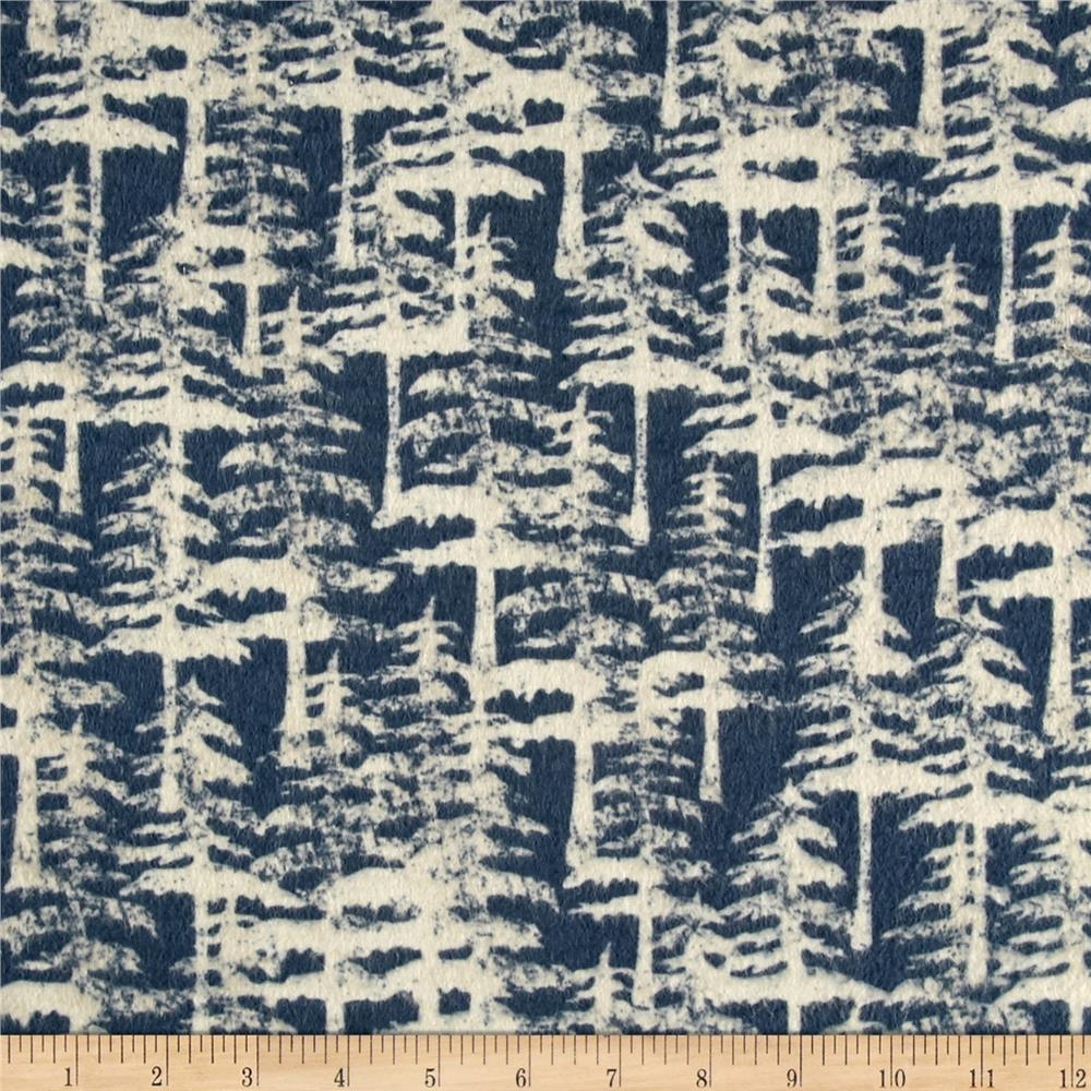 Wilderness Flannel Tres Dark Denim Fabric