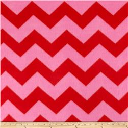 Fleece Chevron Print Coral