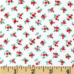 "108"" Quilt Backing Rosebuds Red"