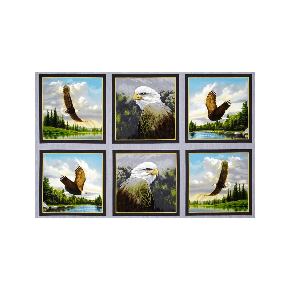 Majestic Bald Eagles Picture Patches 24 In. Panel Gray