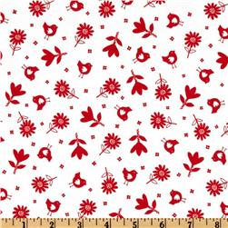 Bonny Bloom Flannel Small Flower White/Red