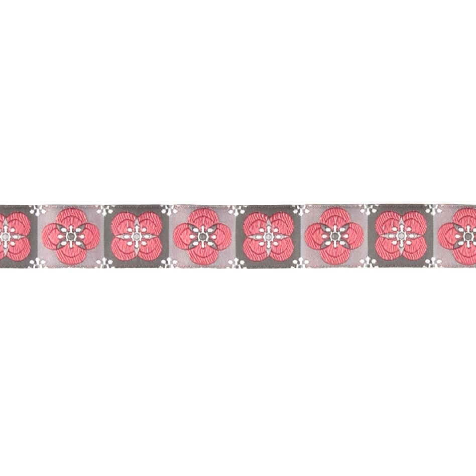 """7/8"""" Laura Foster Floral Tiles Ribbon Pink/Gray"""