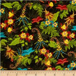 Tropical Travelogue Decorative Floral Black/Multi