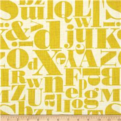 Michael Miller Just My Type Letterpress Mustard