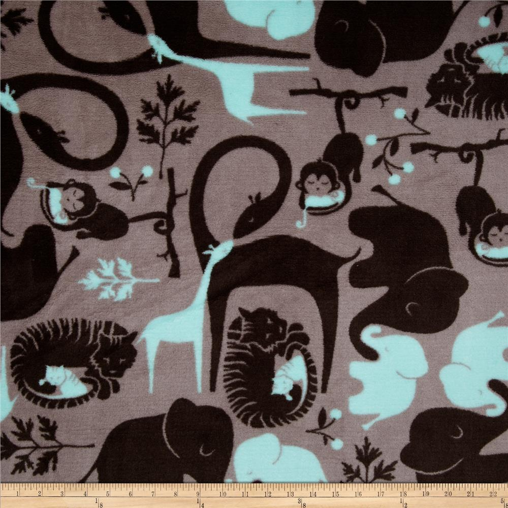 Fleece Zoo Animals Grey/Aqua Fabric By The Yard