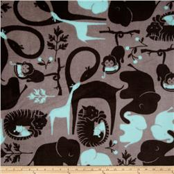 Plush Coral Fleece Jungle Jumbo Grey/Aqua Fabric