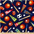 Timeless Treasures Mixed Sports Navy