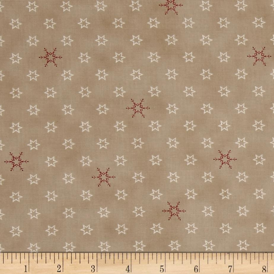 Silent Christmas Stars & Snowflakes Tan Fabric By The Yard