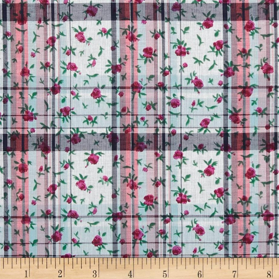 Cotton Lawn Shirting Plaid Floral Red/Black