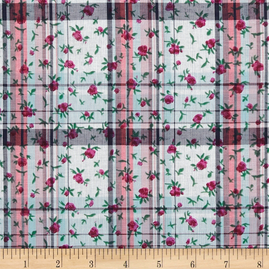 Cotton Lawn Shirting Plaid Floral Red/Black Fabric