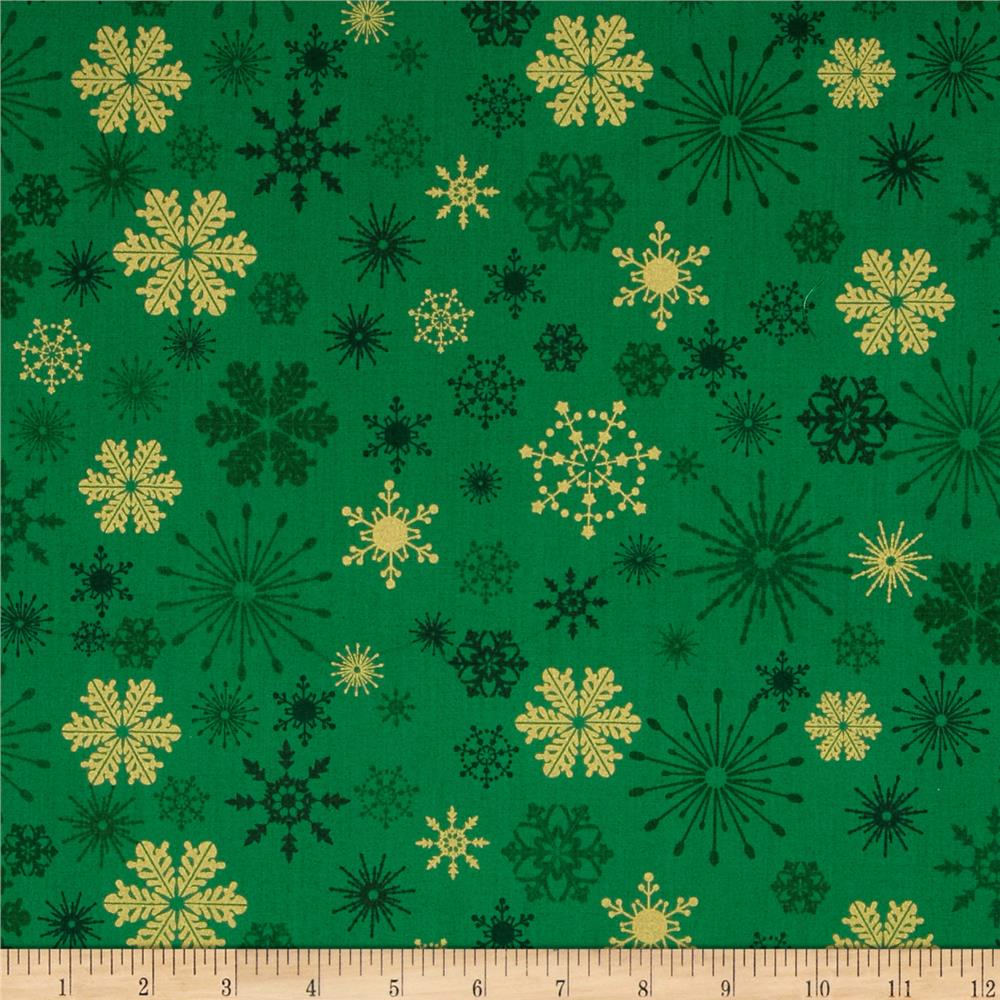 Season's Greetings Metallic Snowflakes Green