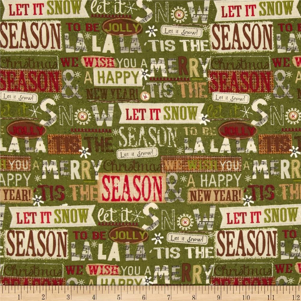 Holiday Stitches Holiday Words Green