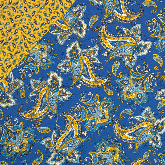 St. Croix Double-Sided Quilted Paisley Yellow/Blue Fabric