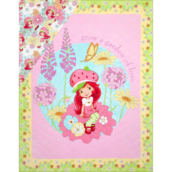 Strawberry Shortcake Double Sided Quilted Panel New Petal Pink