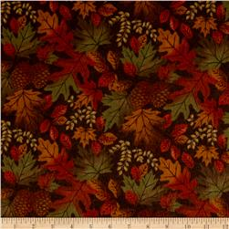Moda Fall Impressions Flannel Large Leaf Nutmeg