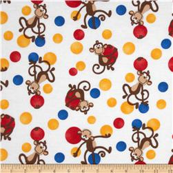 Flannel Tossed Monkey & Dots White Fabric
