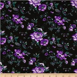 Spring Jersey Knit Floral Black/Purple